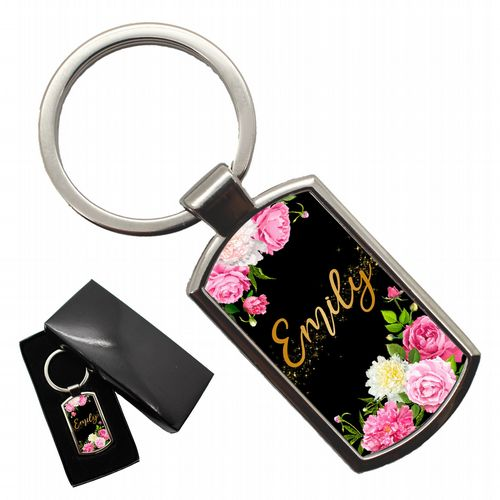 Personalised Any Name Floral Keyring with giftbox N9